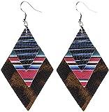 JUSM Rhombic 3-Layer PU Earrings Women Earrings Striped Vintage Earrings,Dropping Ear Jewelry, Simple, ClassicEnergetic Earrings, Suitable For Ladies.