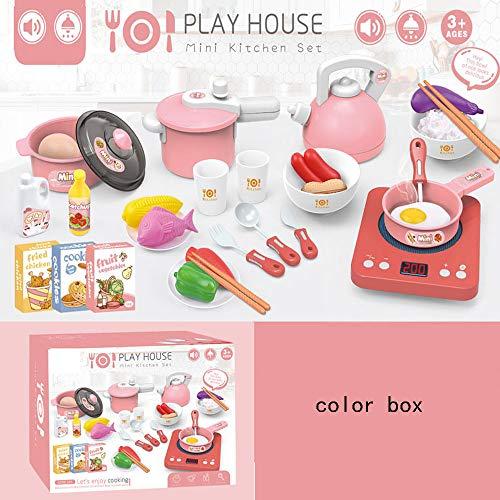 Elektrische Simulation Kitchen Toy Set, Intelligent inductie kookplaat met Light Music Children's Boy Girl Educatief speelgoed, 1 Set,Pink