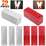Rustark 20 Pcs Reflective Tape Waterproof Self-adhesive Reflector Conspicuity Safety Caution Warning Sticker for Truck Trailer Pickup Mailbox(Red and White)