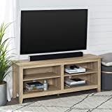 WE Furniture Minimal Farmhouse Wood Universal Stand for TV's up to 64' Flat Screen Living Room Storage Shelves Entertainment Center, 58 Inch, Natural