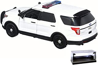 Diecast Car w/LED Display Case - 2015 Ford Unmarked Police Interceptor Utility, White - Motor Max 76959 - 1/24 Scale Diecast Model Toy Car