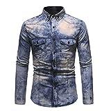 YOUQU Camisa Vaquera Hombre,Slim Fit Manga Larga Casual Oxford Botones Cuello Vuelto Vaquero Regular-Fit Streetwear Tops,Azul Oscuro,3XL