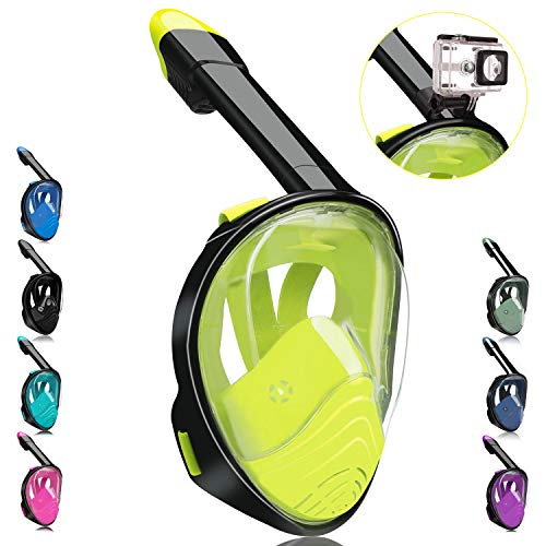 QingSong Full Face Snorkel Mask, Snorkeling Mask with Detachable Camera Mount, 180 Degree Panoramic View Anti-Fog Anti-Leak Snorkel Set for Youth & Adult