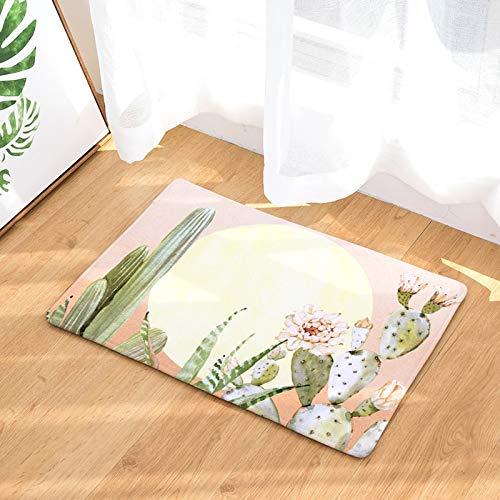 OPLJ Alfombra de Estilo Tropical para el hogar, Alfombra Absorbente de Cactus Kitsch, alfombras de baño Antideslizantes, decoración del hogar, Alfombra Interior A8 50x80cm