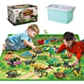 Dinosaur Toys with Dinosaur Figures, Activity Play Mat & Trees for Creating a Dino World Including T-Rex, Triceratops, etc, Perfect Dinosaur Playset for 3,4,5,6 Years Old Kids, Boys & Girls by Olefun