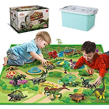 Dinosaur Toys with Dinosaur Figures Activity Play Mat & Trees for Creating a Dino World Including T-Rex Triceratops etc Perfect Dinosaur Playset for 3,4,5,6 Years Old Kids Boys & Girls