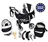 Baby Sportive - Landau pour bébé avec roues pivotables + Siège Auto - Poussette -...