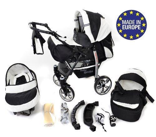 Baby Sportive - Landau pour bébé avec roues pivotables + Siège Auto - Poussette - Système 3en1, incluant sac à...
