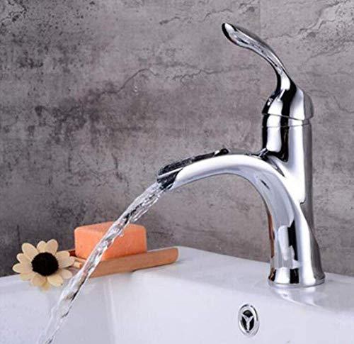 LILICEN CY Cascada de latón Cromado Faucetfaucet Negro baño Grifo Mezclador del Lavabo del Grifo rústico