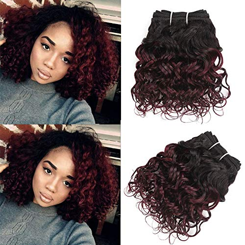 8' Kinky Curly Human Hair BundlesOMbre Color For Bob Weave 50g/Pcs T1b/99j Ombre Burgundy Color Remy Human Hair Extensions Human Hair Bundles Red Hair Extensions(8Inch6Pcs,#T99j)