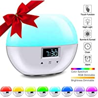 Wake Up Light Despertador, LACYIE Despertador Luz con Simulación de Amanecer Atardecer, Despertador Digital con Función de Snooze 7 Colores Lámpara Ambiental & 8 Sonidos Naturales Control Táctil