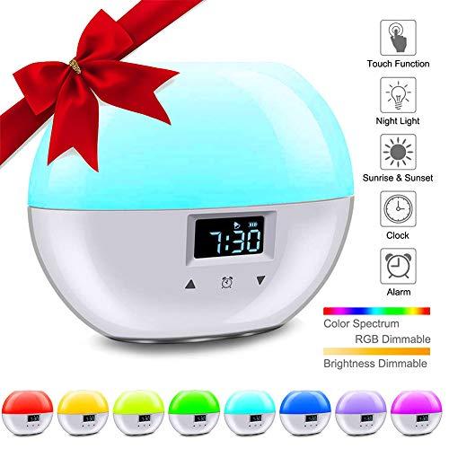 Wake up Light,LACYIE Sveglia Luce con Simulazione Alba Tramonto Lampada da Comodino 9 Colori Snooze Function, 8 Suoni Naturali Touch Control Dimmerabile