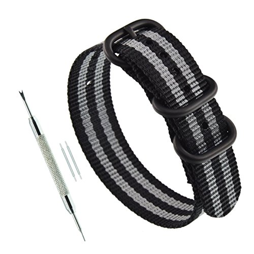 20mm Black/Grey Men's One-Piece NATO Watch Straps Replacement for Dive Watch