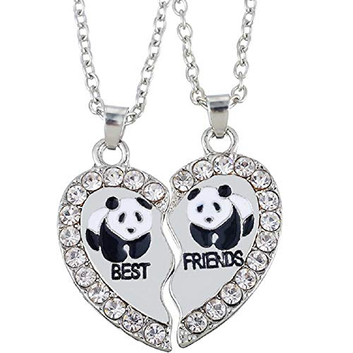 MJARTORIA Damen Kette Halskette Best Friends Gravur Panda Delphin Pinguin Herz Partner Anhänger Freundschaftsketten Silber Farbe mit Strass 2 Stück (Panda)