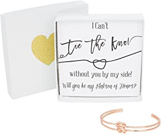 Bridesmaid Gifts - Tie The Knot Matron of Honor Cuff Bracelet with Gift Box, Double Love Knot Cuff Wedding Party Gift Sets