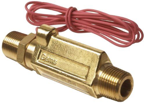Gems Sensors FS-380 Series Brass High Pressure Flow Switch, Inline, Piston Type, 0.5 gpm Flow Setting, 1/2