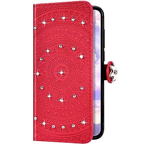 Uposao Kompatibel mit Huawei P20 Lite Hülle Glitzer Diamant Strass Mandala Blumen Leder Hülle Flip Schutzhülle Handyhülle Brieftasche Wallet Bookstyle Case Tasche Magnet Kartenfach,Rot