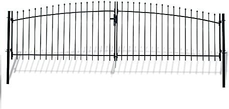 ALEKO DWGD15X5 DIY Arched Steel Dual Swing Driveway Gate Kit with Lock Athens Style 15 x 5 Feet