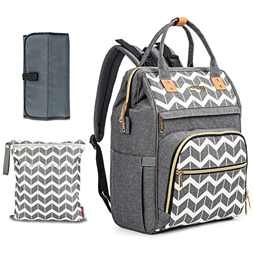 Changing Bag Backpack-BABEYER Large Maternity Nappy Bags Multi-Function Travel Changing Bag Rucksack with Changing Mat&Wet Dry Bag for Mom & Dad (Grey)