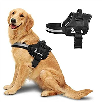 Pecute Dog Harness, No-Pull Pet Harness Adjustable Outdoor Pet Vest Reflective Vest for Dogs Easy Control for Medium Large Dogs