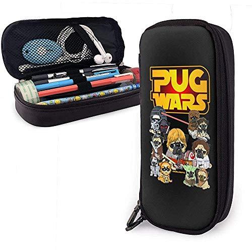 Space Pug Wars Estuche de cuero para lápices Caja de papelería de gran capacidad Bolsa de maquillaje de viaje Bolsa