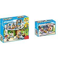 Product 1: Explore the everyday: PLAYMOBIL Furnished School Building with 2-in-1 school clock and alarm clock, many figures, classrooms and accessories Product 1: Nine figures, two floors, stairs and lift, numerous rooms, lockers for stowing individu...