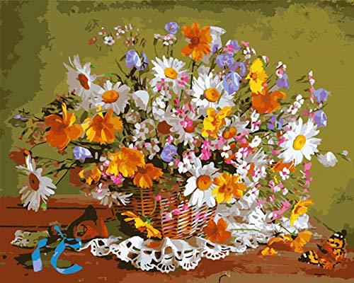 Pintura digital DIY flor cesta margarita flor lienzo boda decoración arte imagen regalo 60 * 75