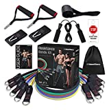 100 Home Fitness Exercise Resistance Band Set Training Tubes with Door Anchor, Handles, Ankle Straps, Jump Ropes, Stackable Up to 150 lbs for Body Strength, Home Workouts