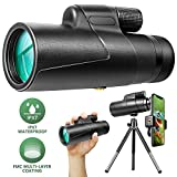12x50 Monocular Optics Zoom HD BAK4 Prism FMC IPX7 Waterproof Monocular Telescope with Smartphone Adaptor Tripod for Adults Kids Gifts Birding Hunting Camping Travelling Wildlife