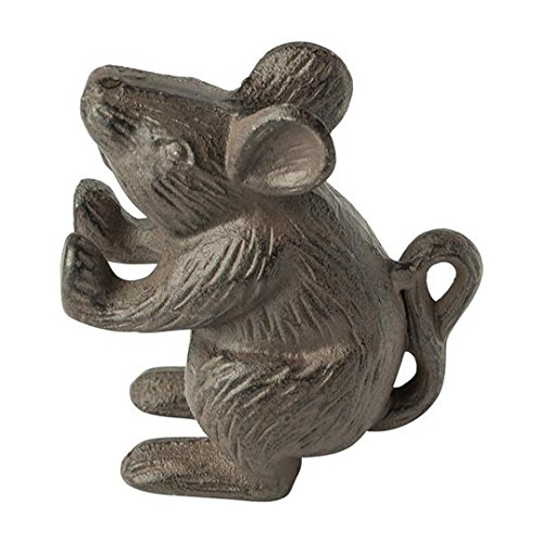 "Cast Iron Mouse Door Stop - Decorative Rustic Door Stop - Stop your bedroom, bath and exeterior doors in style - Vintage Brown Color - Book Stopper - Heavy Bookend - 4.5""x4.5"""