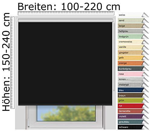 EFIXS Thermorollo Medium - 25 mm Welle - Farbe: schwarz (069) - Größe: 220 x 190 cm (Stoffbreite x Höhe) - Hitzeschutzrollo - Verdunklungsrollo