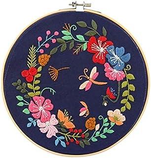 طقم تطريز مبتكر مختوم DIY مع نباتات الزهور تطريز قماش أدوات أدوات لبادئ LPLCUICAN (اللون : أسود، الحجم: 30 × 30 سم)