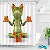 LB Tier Duschvorhang Zen Frosch. Tropische, Umwelt Gemusterte Polyester Stoff Bad Gardinen Wasserdicht Anti-Schimmel Bad Dekor Wohnaccessoires mit 12 Vorhang Haken 180x200cm