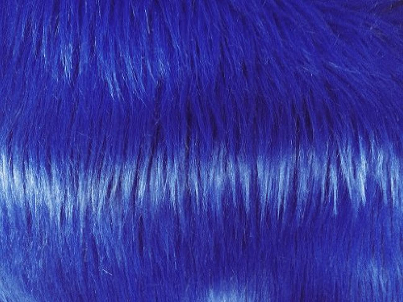 Solid Shaggy Faux/Fake Fur Fabric-Royal Blue-Long Pile 60
