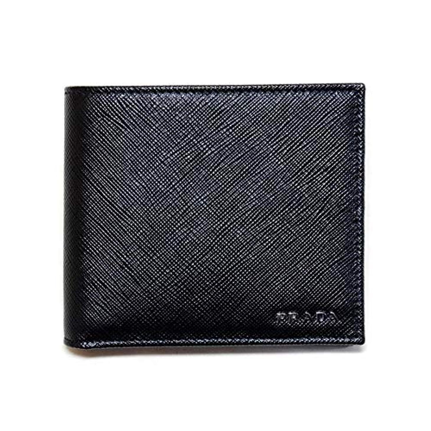 に付ける体キャリアプラダ メンズ財布 サフィアーノプリント ブラック+ブルー 2M0738_2E3D NERO+BLUETTE PRADA