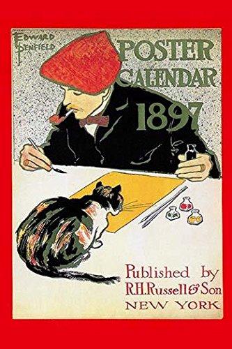 Der Einband eines Kalenders für 1897, zeigt einen Künstler und seine Katze beobachtet, Posterdruck von Edward Penfield, 61 x 91 cm.