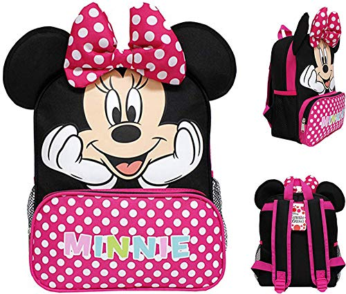 Ruz Minnie Mouse 12' Toddler School Backpack Girls Canvas Book Bag