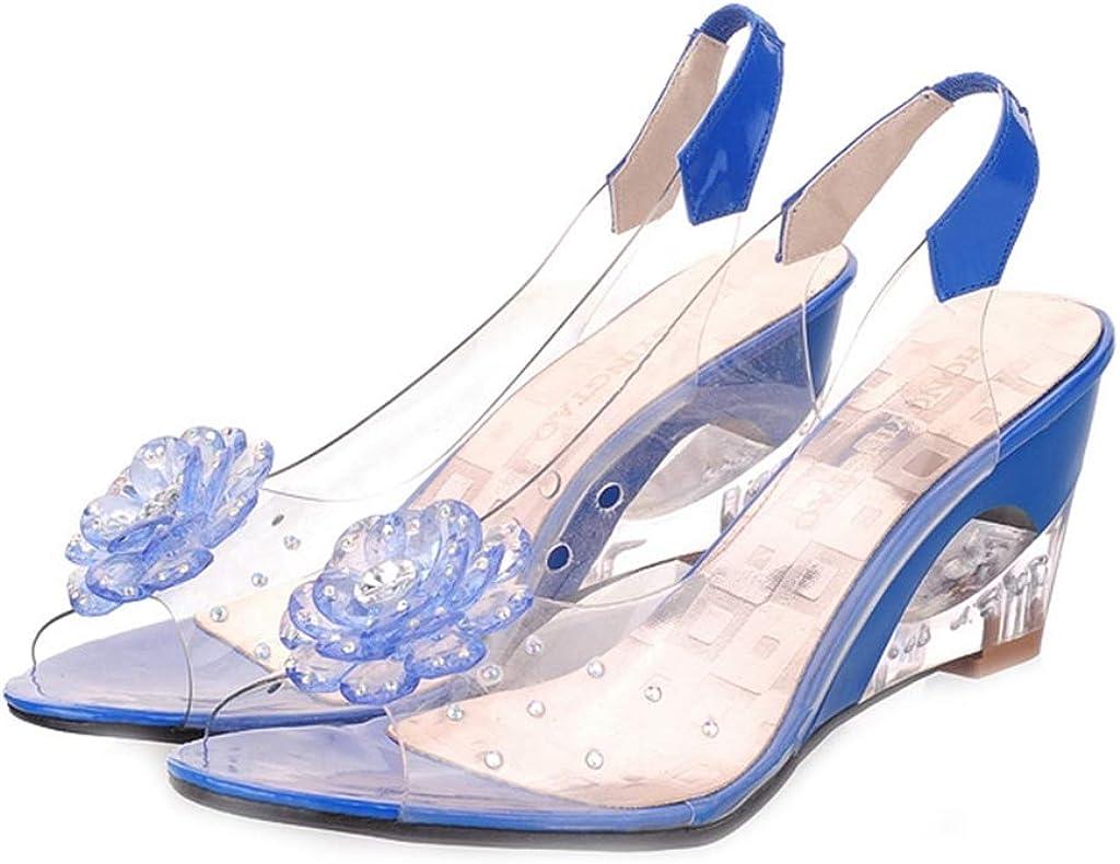 MIOKE Women's Fashion Clear Crystal Save money Glitt Peep Sandals Tulsa Mall Toe Wedge