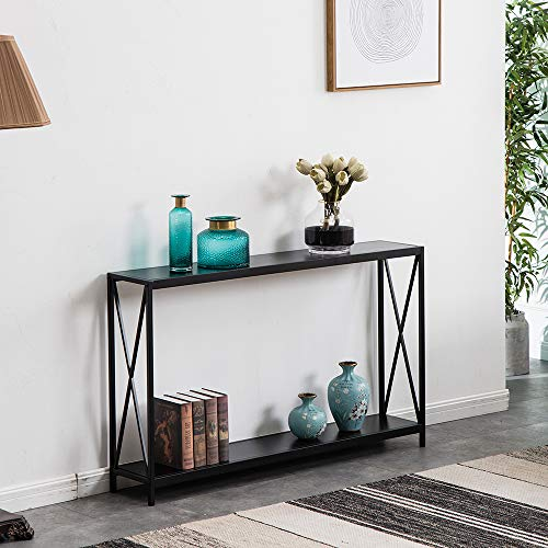 Miyahome 2 Tier X Design Console Table, Wood Sofa Side Table with Storage Shelf Entry Hall Table Accent Table Bookshelf Bookcase Furniture for Living Room Entryway, 47.3×9×29 inches, Black