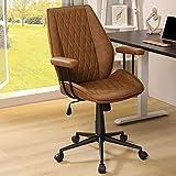 Leder Bürostuhl ergonomisch Braun Schreibtischstuhl mit Abnehmbare Armlehne, Arbeitsstuhl Verstellbare Rückenlehne, Chefsessel Drehstuhl, Belastbar bis 180kg