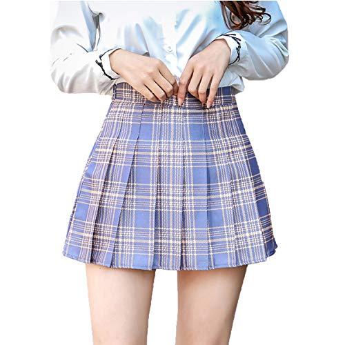 Frecoccialo Falda Plisada Mini para Mujer Niña Falda de Cuadros Corta con Cintura Alta para Tenis Falda Escolar Adecuado para Cosplay JK Uniforme Japones (Morado Cuadros, XL)