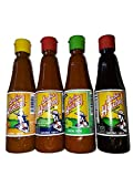 Set of 4: Gourmet Salsa Huichol Hot Sauce, with Lime + Habanera Roja & Salsa Negra, 6.5 oz bottles