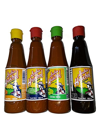 Set of 4: Gourmet Salsa Huichol Hot Sauce, with Lime + Habanera Roja & Salsa Negra, 6.5 oz bottles