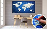 Itchy Feet World Map XXL 51 x 28 inches, Travel Pin Board with Fleece Surface, 20 Flag Push Pins Included