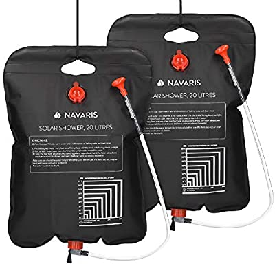 Navaris Solar Shower Bag 5 Gallons - 2X Solar Heating Camping Shower Bag with Shower Head, Hose, Tap Head - for Ideal Traveling, Hiking, Backpacking