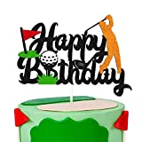Golf Birthday Cake Topper Happy Birthday Sign Golf Ball Player Cake Decorations for Sport Themed Man Boy Girl Bday Party Supplies Black Glitter Décor (Double Sided)