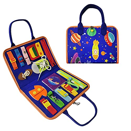 Space World Toddler Busy Board Montessori Toys for Toddlers 3-5 Year Old, 15 in 1 Learn Basic Skills–Dress, Parent-Kids Activity Toy, Educational Learning Toys, Toddler Travel Toys, Car Activity Board