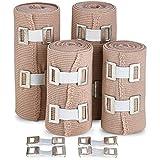 Fascia per Bendaggio di Compressione Elastica - Qualità Superiore (Set da 4) con Ganci, Rotoli per Supporto Adesivo per Sport Atletica per Distorsioni di Caviglia, Polso, Braccio, Gamba