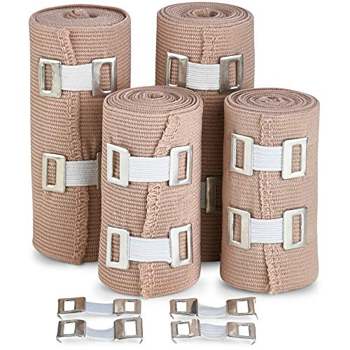Elastic Compression Bandage Wrap - Premium Quality (Set of 4) with Hooks, Athletic Sport Support Tape Rolls for Ankle, Wrist, Arm, Leg Sprains | Each First Aid Bandages Roll Measures 4 Inch x 5 Feet