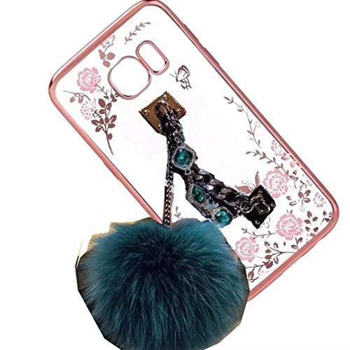 Ascend P6 Case,Rhinestone Hand Chain Holder Bracelet Fur Ball [Secret Garden] Flower Diamonds Frame Plating Bumper Soft Flexible TPU Transparent Skin Case for Huawei Ascend P6(Holder Blue)